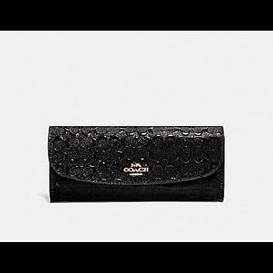 Coach Patent Leather Soft Wallet Black glittery